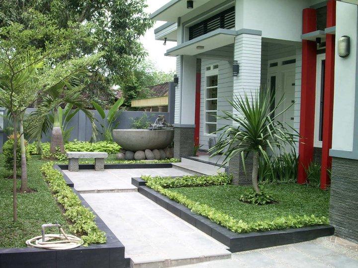 tiang teras rumah kombinasi warna hijau desain rumah