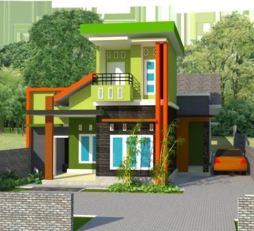 Kombinasi Warna Hijau Teras Rumah 3 Lantai