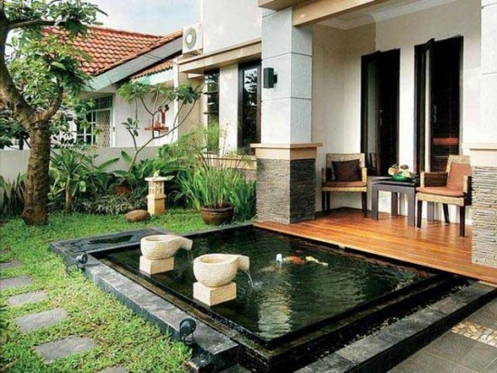 Contoh Dekorasi Teras Rumah Minimalis Dengan Kolam Kecil