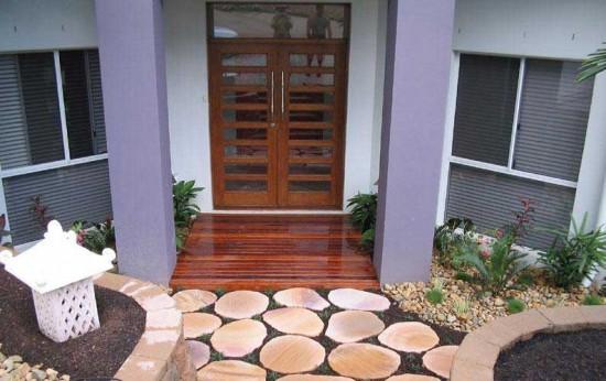 Dekorasi Batu Alam Teras Depan Rumah Model Minimalis