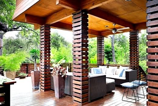 contoh gambar design teras rumah kayu minimalis terbaru