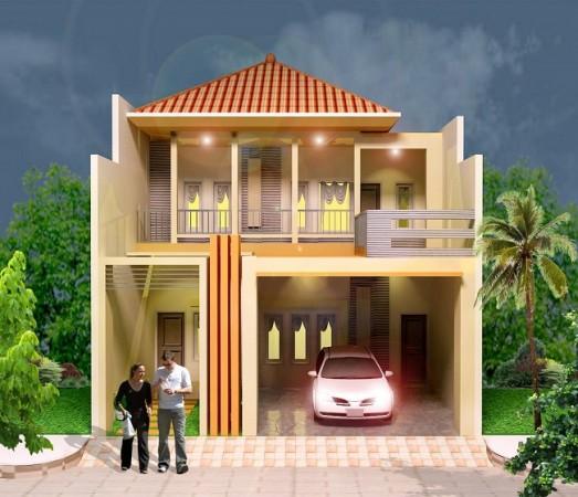 Contoh Gambar Bentuk Teras Rumah Dua Lantai Model Minimalis
